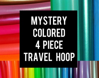 Mystery Colored 4-piece SECTIONAL HOOP Polypro or HDPE  Dance & Exercise Hula Hoop collapsible travel push button