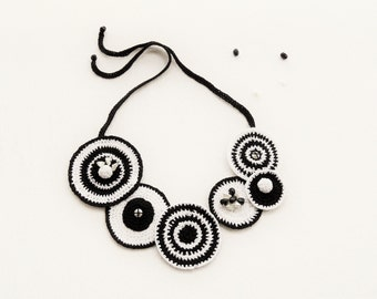 Crochet  Statement Necklace - Circle Necklace - Black White Necklace -Choker - Monochrome Necklace