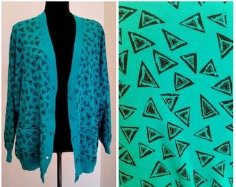 statement sweater geometric cardigan 80s sweater teal sweater rad 80s cardigan oversized cardigan green sweater abstract sweater large