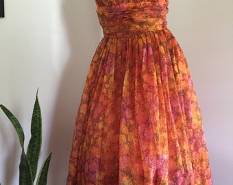 Vintage 50's Orange Floral Empire Waist Chiffon Prom Dress Strapless
