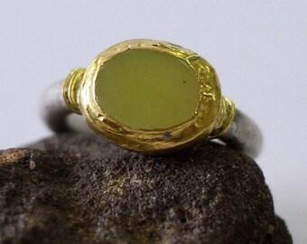 Lemon Jade Ring, Jade Engagement Ring, Jade Wedding Band, Unique Engagement Ring, Silver and Gold Gemstone Ring, Alternative Engagement Ring