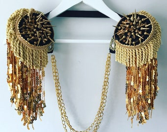 Gold sequin studded festival epaulettes, studded tassel shoulder pads, festival epaulettes, gold tassel shoulderpieces, burning man outfit,