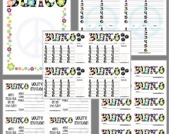 Flower Power Bunco Printable Set, Groovy Bunco Score Cards & Tally Sheet, Instant Download, Editable Bunco Invites
