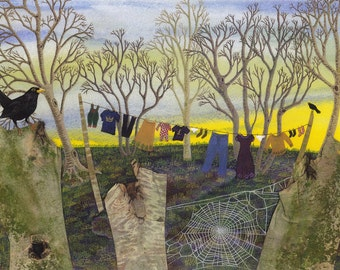 """Greetings card: """"Morning has broken"""" - mystical card, fantasy card, clothes line, blackbirds, woodland, from a painting by Liz Marsh"""
