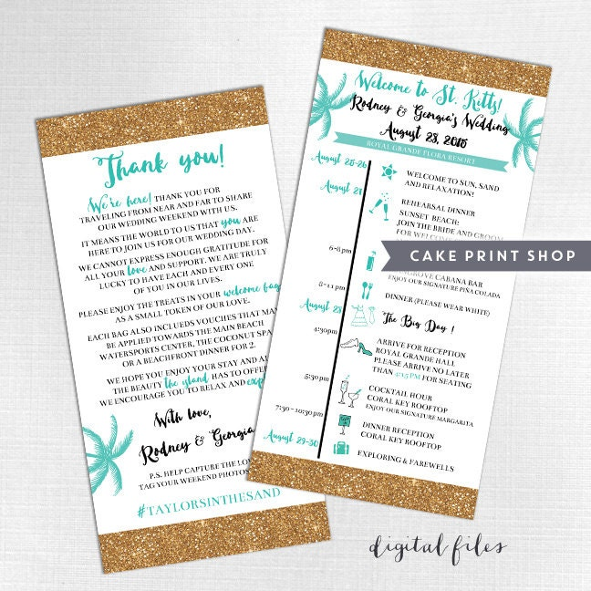 Printable Wedding Itinerary And Welcome Bag Note Destination