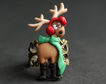 Reindeer Ring. Christmas Deer Ring. Holiday Jewelry. Adjustable Ring. Christmas Jewelry. Bronze Ring. Holiday Ring. Handmade Jewelry.