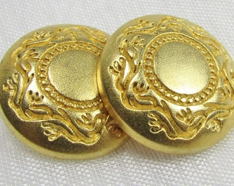 "Bright Gold: 13/16"" (21mm) Metal Buttons - Set of 2 New / Unused Matching Buttons"