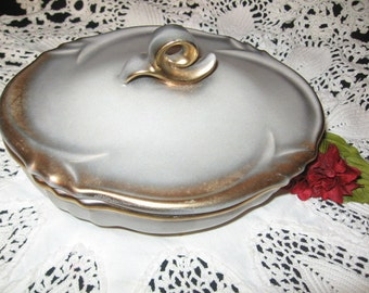 Made in Austria Ceramic Silver Tone And Gold Trim Covered Dish/Vanity Accessories