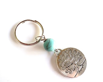 Tree of Life Keychain Bag Charm Keyring Yoga Accessories Turquoise Unique Gift For Her Birthday Friendship Christmas Under 20 Item A15