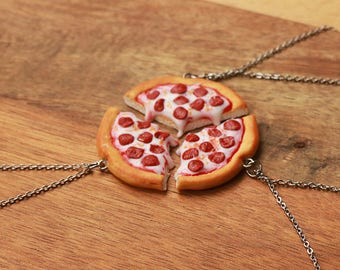 Pizza Friendship Necklace 2,3,4,5 or 6 friends- Food Jewelry,Pizza Necklace, Bff Necklace, Friends Necklace, Friendship Necklace