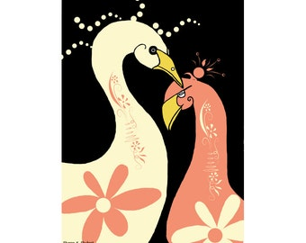 Folk Art Swans, Fantasy Digital Painting, Nursery Wall Hanging, Fancy Birds, Pink Home Decor, Feminine Decorative, Giclee Print, 8 x 10