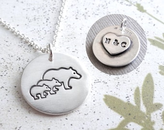 Personalized Mother Bear with Two Cubs Necklace, Mom and Two Kids, New Family, Fine Silver, Sterling Silver Chain, Made To Order