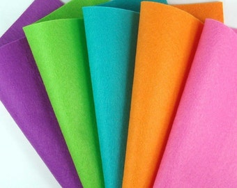 5 Colors Felt Set - Brights - 20cm x 20cm per sheet