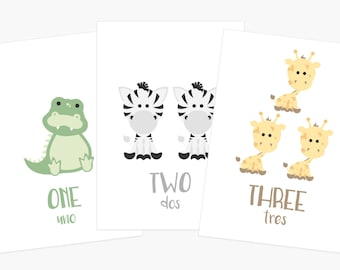 Number Flashcards | Counting Cards | 123 Flash Cards | Educational Gift | Birthday Gift for One Year Old | Toddler Gift | Spanish English