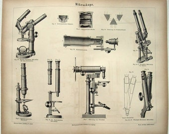 Antique Microscopes - Original 1877 Print by Meyers. Vintage Science