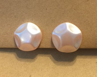 Vintage Jewelry, Pink Pearl Clip On Earrings
