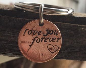 Personalized keychain, penny key ring, custom keychain, boyfriend, girlfriend, husband, Love you forever, Customized keychain