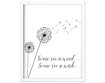 Some See a Weed | Some See a Weed Some See a Wish  | Black and White | Quote Printable | Dandelion | Dandelion Wall Art | Printable