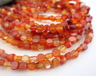 """CARNELIAN BEADS, 4mm Flat Coin 16"""" Strand, Natural Stone Beads, Ready to Ship!"""
