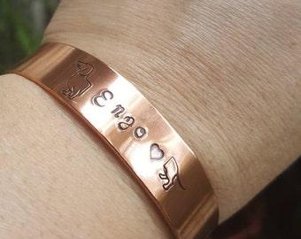 Daschund cuff, daschund custom cuff, puppy love bracelet, made to order, Daschund bracelet, Dog custom cuff