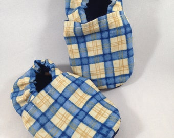 Plaid Slippers, Baby Booties, 3-6 month Size, Gold, Yellow, Blue, Cotton Soles, Cotton Baby Slippers, Adjustible Ankle, Boy Slippers