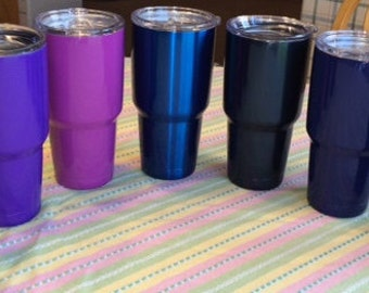 Powder Coated Tumbler / Stainless Steel Double Wall Vacuum Insulated Tumbler/Customized/Personalized 30 oz. Tumbler