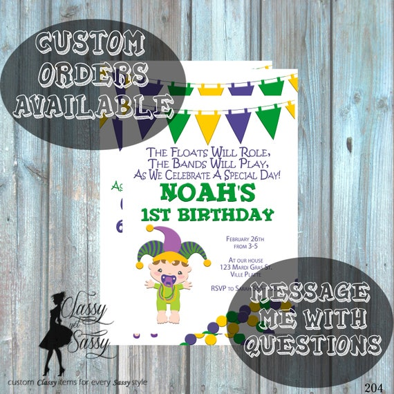 Mardi Gras Birthday Party Invitation, Mardi Gras Party, Parade party,  New Orleans Baby, New  Orleans Birthday Invitation-204
