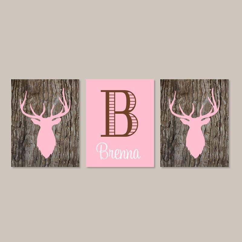 Girl Deer Nursery Decor Country Baby Girl Nursery Prints Or