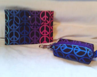 Set of 2 - Coin pouch & Card Holder - PEACE SIGN