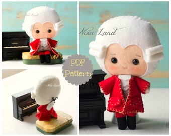 PDF. Mozart. Plush Doll Pattern, Softie Pattern, Soft felt Toy Pattern.
