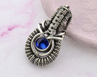 Silver Wire Wrap Pendant with Sapphire, mini