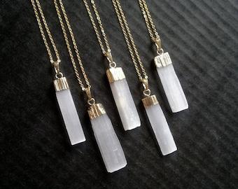 Selenite Necklace Selenite Pendant Selenite Jewelry White Stone Necklace White Stone Pendant White Stone Jewelry Gold Dipped Crystal Pendant