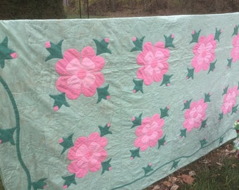Green and Pink Vintage Quilt  68x81