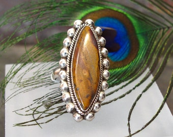 Picture Jasper Ring ~ Large Stone Ring ~ Long Oval Sterling Silver Statement Ring ~ Jasper Marquise Cabochon Ring - Size 7