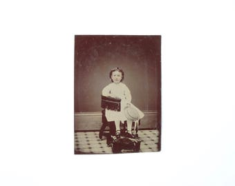 Vintage Tintype Photo of Little Girl with Hat / Victorian Era Child Tintype Photograph