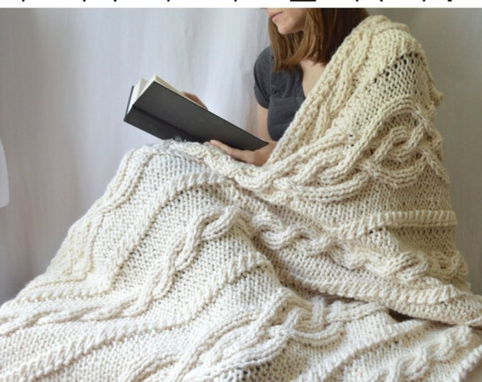 Florence Blanket, Knit Throw Blanket Pattern