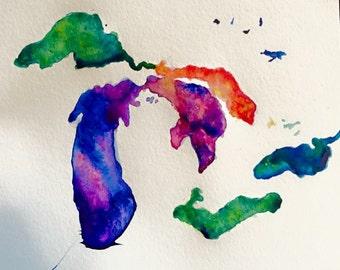 Great Lakes Watercolor Print
