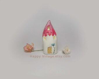 Fuchsia Glitter Spring clay house,miniature house,tiny clay house,small house,little ceramic house,fairy house,housewarming gift