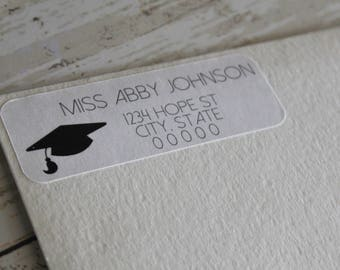 Graduation Return Address Label, Grad Gift,  Address Labels, Mailing Labels, Thank You Stickers
