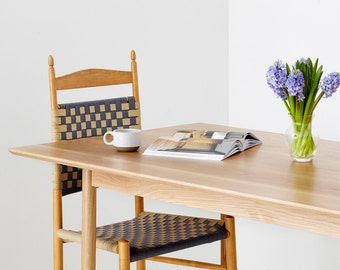 Solid oak dining table modern handcrafted hardwood table rounded legs - Peter by bff