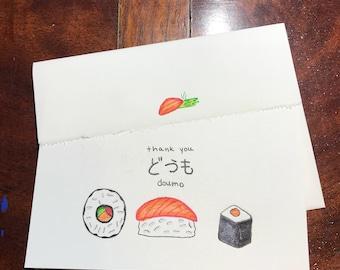 Thank you Cards Sushi design 2 pk.