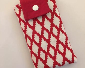 Cover for smartphone iPhone Red and white type. Unique model. Hand sewn. Made in France