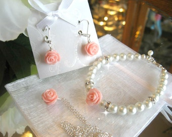 Flower Girl Pearl and Rhinestone Necklace Bracelet and Earring Set/Flower Girl Jewelry/Wedding Jewelry/ Flower Jewelry/Children's Jewelry