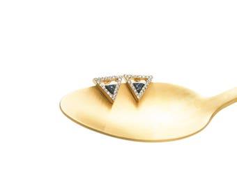Triangle Stud Earrings, Geometric Stud Earrings, Black Marble Earrings, Gold Triangle Earrings, Statement Earrings, Gold Glitter Earrings