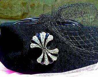 Black-1940s-Hat-Women's-Vintage-Costume-Veil-Wedding-Party-Pill box-Evening-Fancy-Church Hat-Classic-Jackie O- mid-century-satin