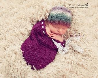 Knitting PATTERN - Butterfly Knit Hat Pattern - PDF 372 - Includes 4 Sizes Newborn to Adult Basketweave Hat - Photo Prop Pattern