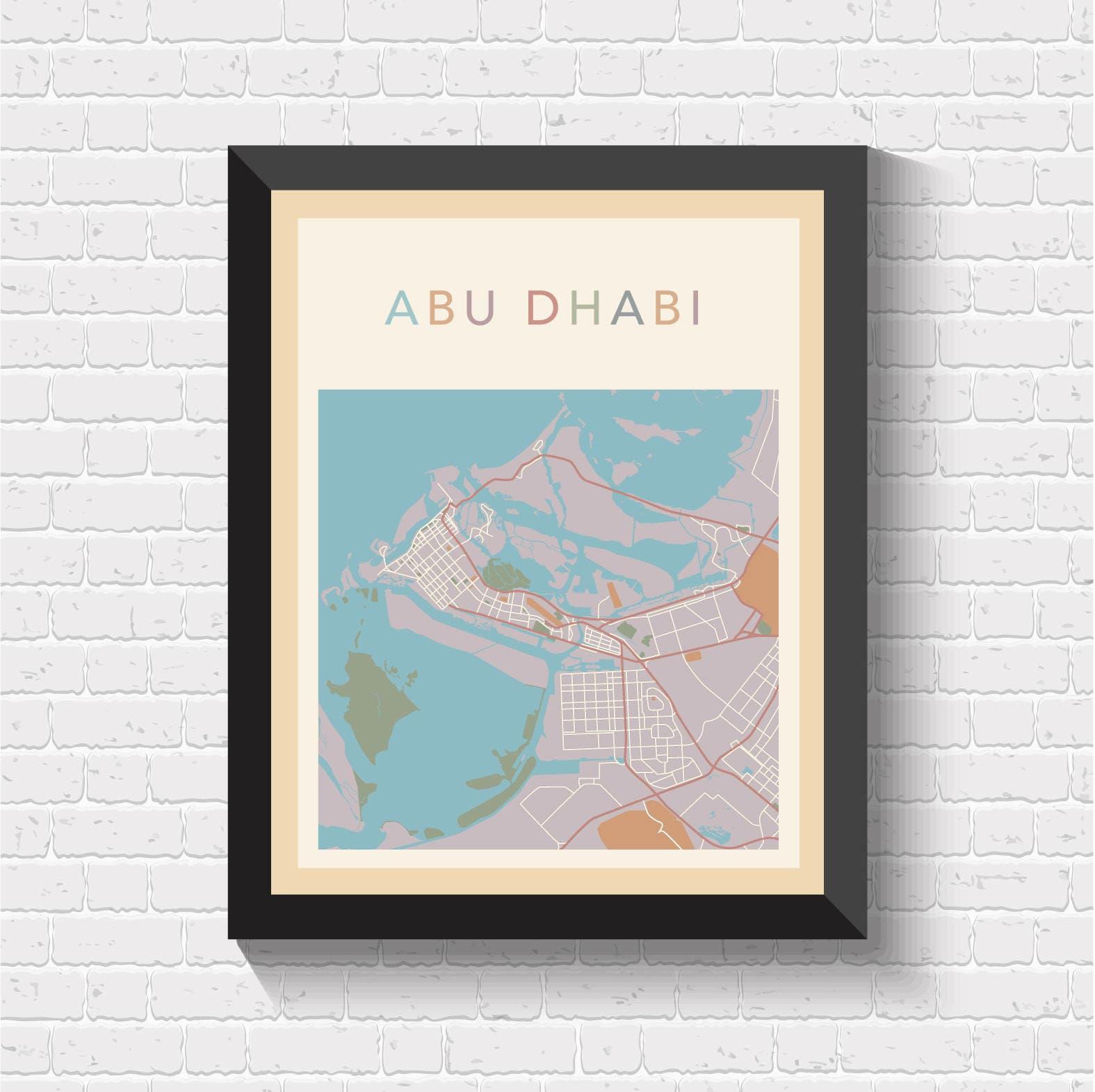 Abu Dhabi Map Abu Dhabi Poster Abu Dhabi Print Abu Dhabi
