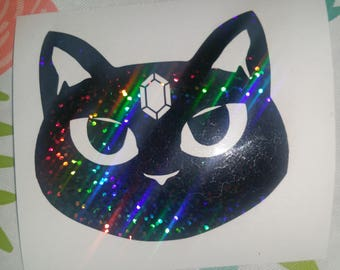 Black Holo Gem Cat Vinyl Sticker