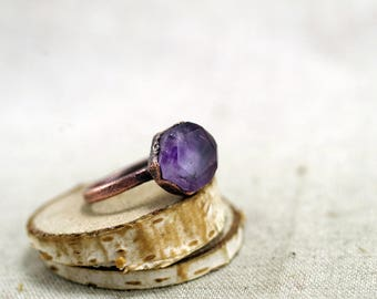 Rosecut Fluorite Ring, Purple fluorite ring, Raw Crystal, Electroformed, Copper Ring, violet Fluorite, 6.5 US, 16.75 DE,  120