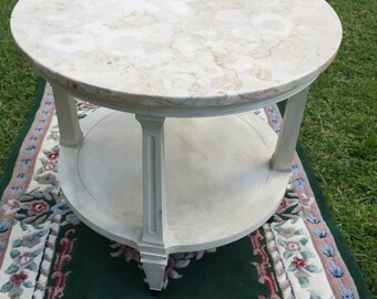 MarbleTop Round EndTable, Mid-Century- Hollywood Regency, Shabby Chic Italianate Table